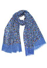 A.P.Fashions ウールプリント部分刺繍ストール ブルー