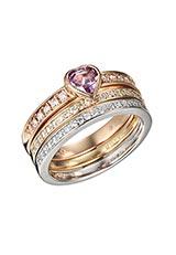 K18YG/WG/PG ハートピンクサファイヤダイヤモンド3連リング イエロー/ホワイト/ピンク