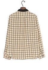 ROSSO 丸衿バイカラーチェックシャツ BEIGE