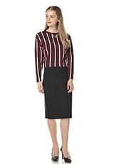 ROSSO ミラノリブタイトスカート BLACK