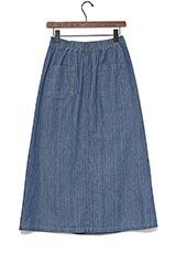 KBF デニムラップロングスカート BLUE