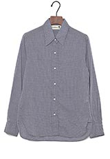 Quotidienne by raspa ギンガムチェックシャツ ブルー