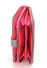 レザー二つ折り財布 ボタンスポット ピンク