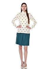 サキソニーストレッチボックスプリーツスカート グリーン