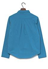 WARE HOUSE ストライプ織スキッパーシャツ ブルー