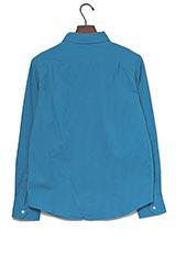WARE HOUSE ストライプ織レギュラーシャツ ブルー