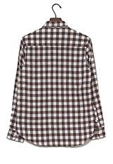 WARE HOUSE ミニブロックチェックネルシャツ ブラウン×ホワイト
