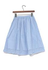 KBF+ 幾何レーススカート ライトブルー