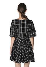 The Virgnia チェックフレアスカートドレス ブラック