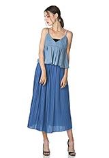 The Virgnia プリーツロングスカート ブルー
