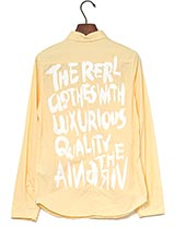 The Virgnia コットンバックメッセージプリントデザインシャツ イエロー