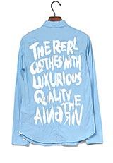 The Virgnia コットンバックメッセージプリントデザインシャツ サックス