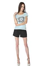 The Virgnia コットンデザインプリントTシャツ ライトブルー