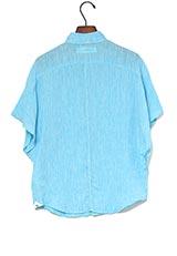 The Virgnia リネンハンカチーフスリーブデザインシャツ ブルー