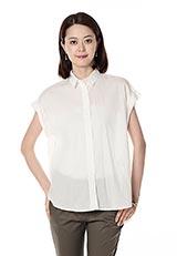 innowave コットンロールアップショートスリーブシャツ オフホワイト
