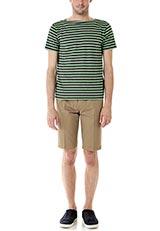 FORK&SPOON カラーボーダーショートスリーブTシャツ グレー×グリーン