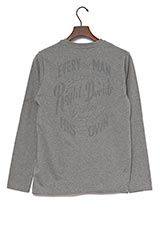 UR warehouse コットンクルーネックバックプリントTシャツ チャコールグレー