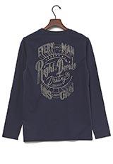 UR warehouse コットンクルーネックバックプリントTシャツ ネイビー
