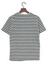 UR warehouse コットンVネックボーダーTシャツ グレー/グリーン
