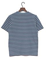 UR warehouse コットンVネックボーダーTシャツ ライトブルー/ネイビー