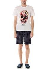 WARE HOUSE スカルプリント半袖Tシャツ ホワイト