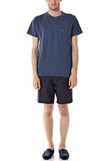DOORS ピグメントダイ鹿の子ポケットTシャツ ブルー
