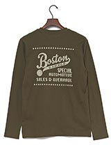 UR warehouse コットンVネックバックプリントTシャツ カーキ