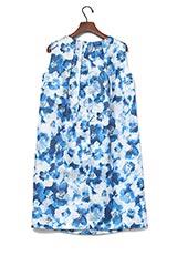 ROSSO フラワーバックタックドレス ブルー