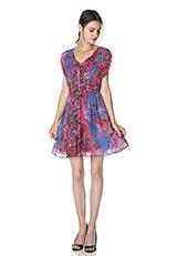 The Virgnia ボタニカルモチーフプリントシャーリングデザインドレス ピンク