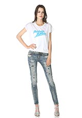 The Virgnia コットンデザインプリントTシャツ ホワイト