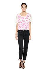 レオパードデザインTシャツ ホワイト×ピンク