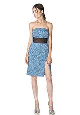 The Virgnia フラワーモチーフプリントデザインベアトップドレス ブルー