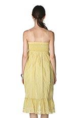 The Virgnia コットンシルクレースデザインシャーリングベアトップドレス イエロー