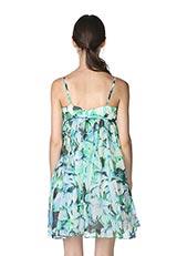 The Virgnia フラワーモチーフコットンシフォンデザインドレス ブルー