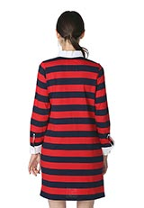 The Virgnia ラガーシャツデザインワンピース レッド×ネイビー
