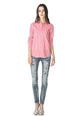 The Virgnia コットンギンガムチェックデザインシャツ レッド