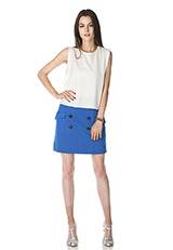 The Virgnia ボタンデザインカットスカート ブルー