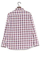 UR warehouse コットンチェック2ポケットシャツ レッド