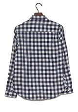 UR warehouse ミニブロックチェックネルシャツ ネイビー/ホワイト