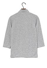UR warehouse ハイネック七分袖Tシャツ 杢グレー