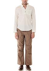 UR warehouse ストライプ織スキッパーシャツ ホワイト