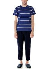 DOORS ラインボーダーTシャツ ブルー×オフホワイト