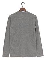 UR warehouse コットンVネックバックプリントTシャツ チャコールグレー