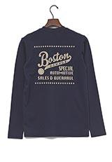 UR warehouse コットンVネックバックプリントTシャツ ネイビー