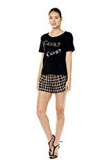スパンコールロゴデザインTシャツ ブラック