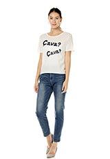 スパンコールロゴデザインTシャツ ホワイト