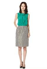 ストライプタックデザインタイトスカート ブラウン