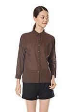 LE TiROiR de DRESSTERIOR ミニダークチェックシャツ ブラウン