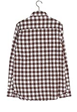 WARE HOUSE ミニブロックチェックネルシャツ3  BRN/WHT