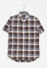 GYMPHLEX GYMPHLEX マドラスチェック柄 半袖Tシャツ BROWN/BLUE